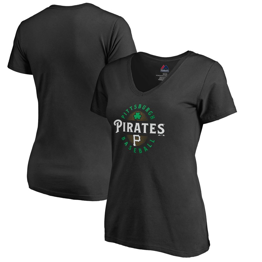 Pittsburgh Pirates Majestic Women's Forever Lucky V-Neck T-Shirt Black