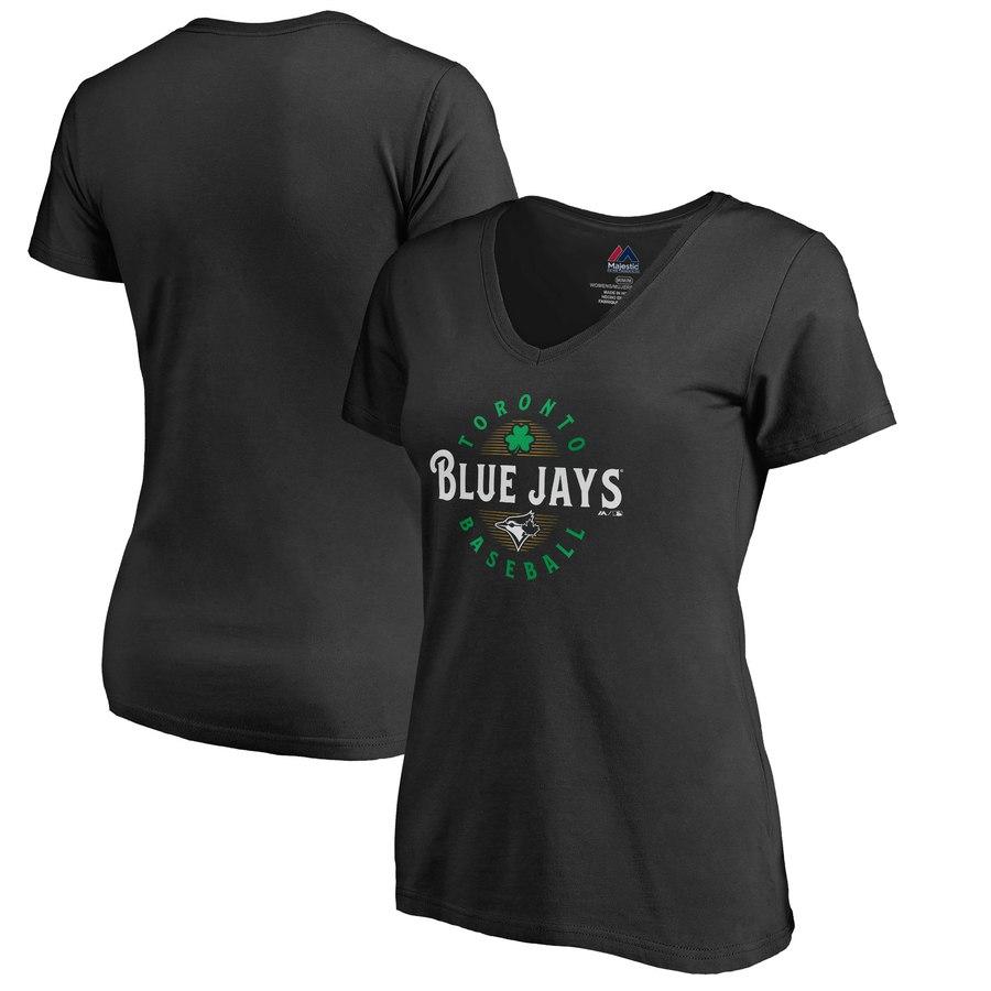 Toronto Blue Jays Majestic Women's Forever Lucky V-Neck T-Shirt Black
