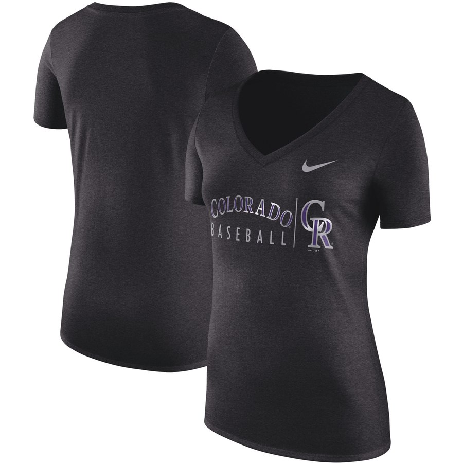 Colorado Rockies Nike Women's Tri-Blend Practice T-Shirt Black