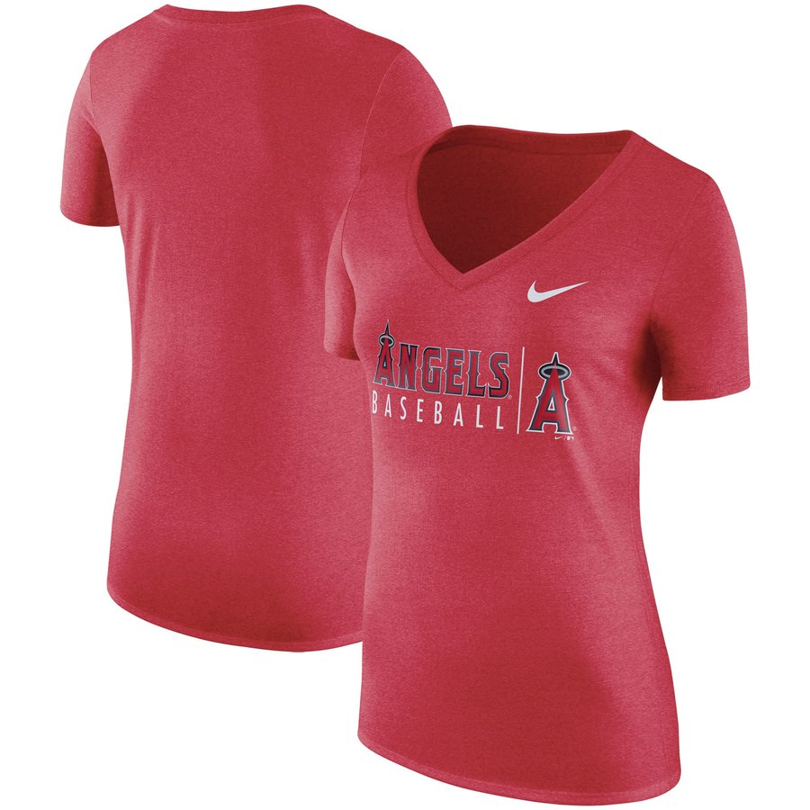 Los Angeles Angels Nike Women's Tri-Blend Practice T-Shirt Red