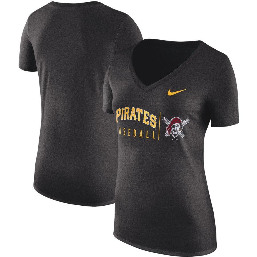 Pittsburgh Pirates Nike Women's Practice Tri-Blend V-Neck T-Shirt Black