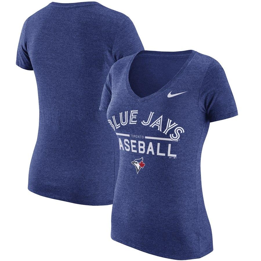 Toronto Blue Jays Nike Women's Practice 1.7 Tri-Blend V-Neck T-Shirt Heathered Royal
