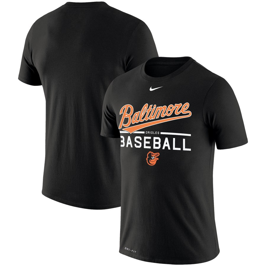 Baltimore Orioles Nike Wordmark Practice Performance T-Shirt Black