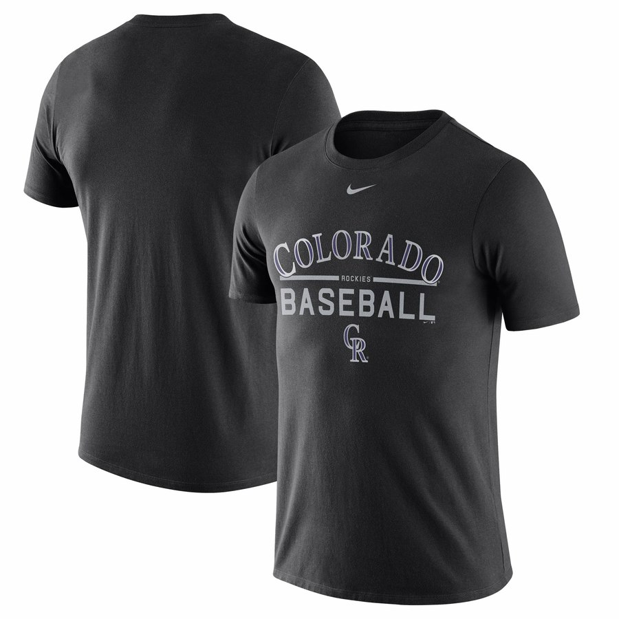 Colorado Rockies Nike Away Practice T-Shirt Black