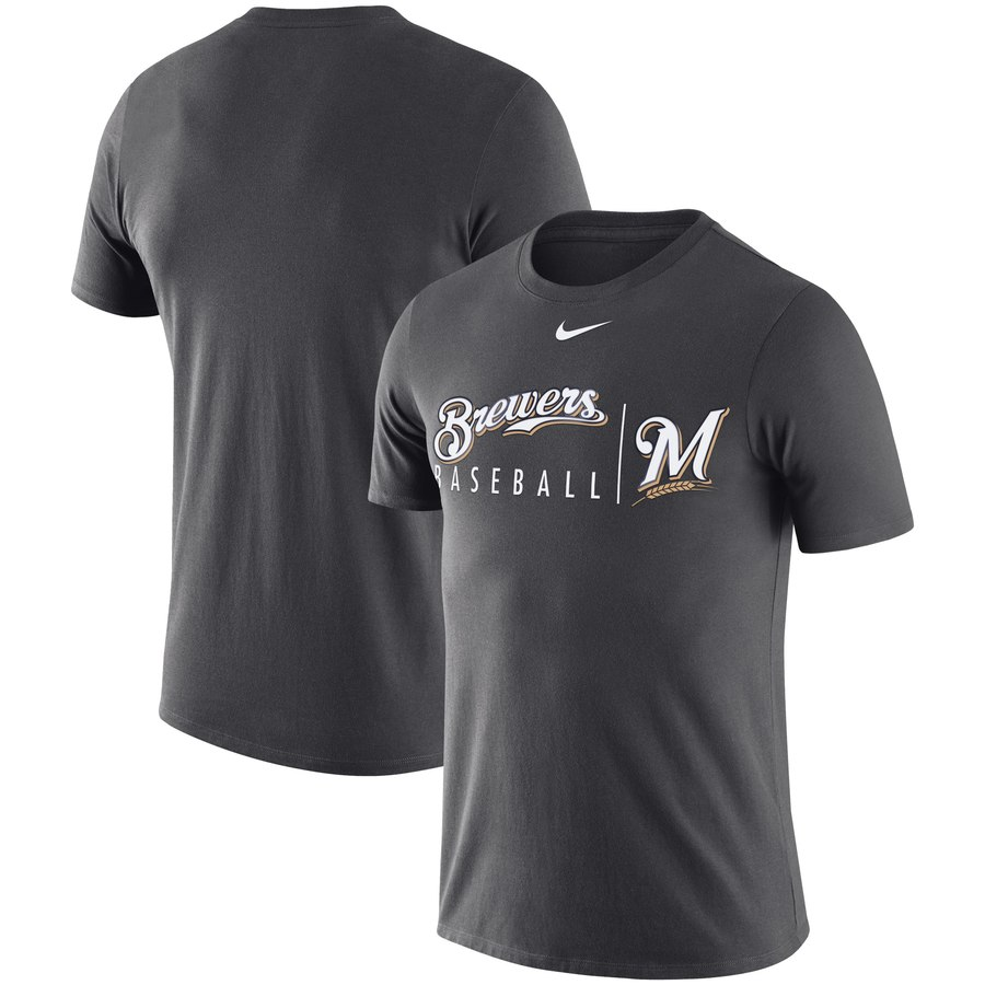 Milwaukee Brewers Nike MLB Practice T-Shirt Anthracite