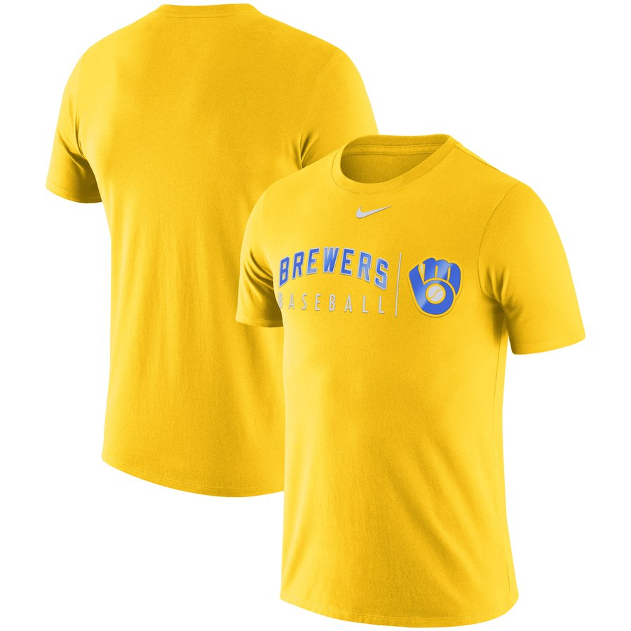 Milwaukee Brewers Nike MLB Practice T-Shirt Gold