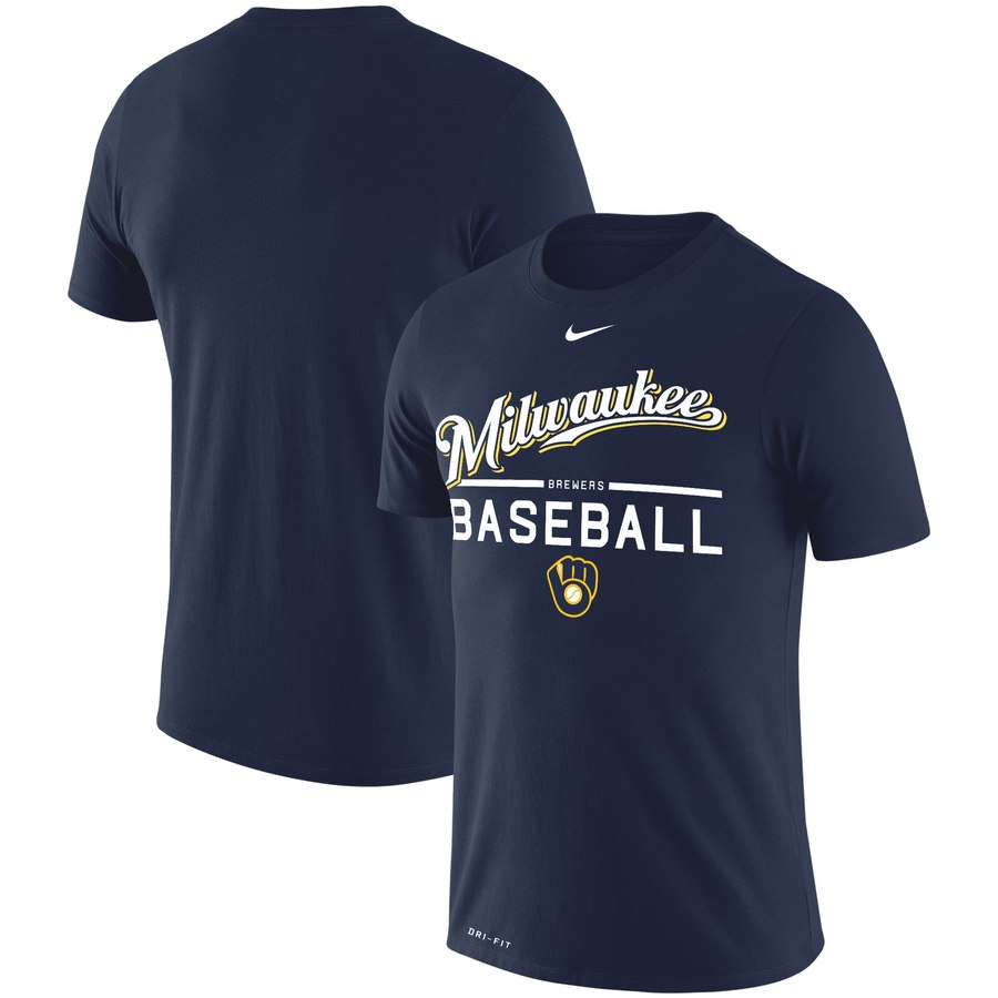 Milwaukee Brewers Nike Practice Performance T-Shirt Navy