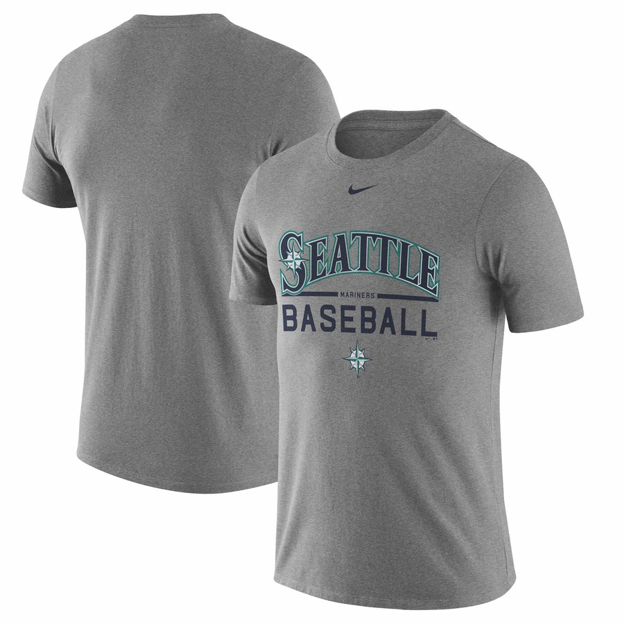 Seattle Mariners Nike Away Practice T-Shirt Heathered Gray
