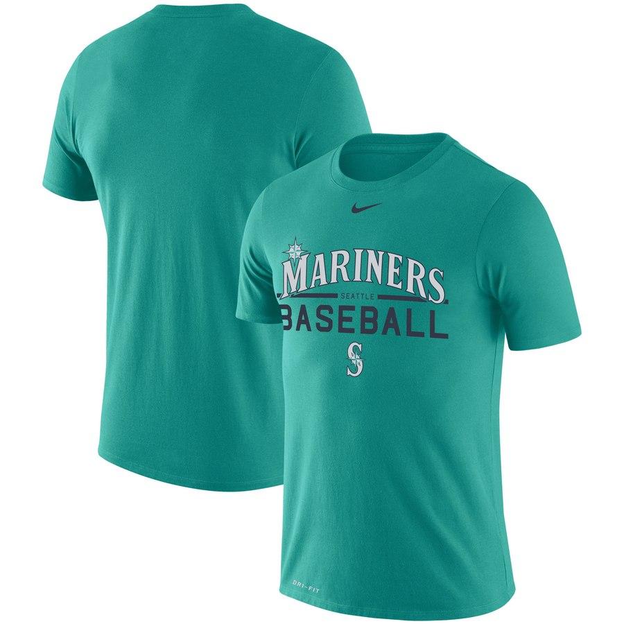 Seattle Mariners Nike Practice Performance T-Shirt Aqua