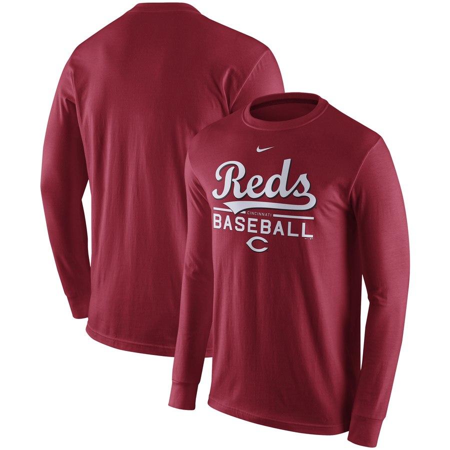 Cincinnati Reds Nike Practice Long Sleeve T-Shirt Red