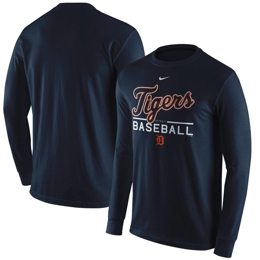 Detroit Tigers Nike Practice Long Sleeve T-Shirt Navy