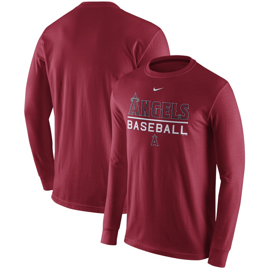 Los Angeles Angels Nike Practice Long Sleeve T-Shirt Red