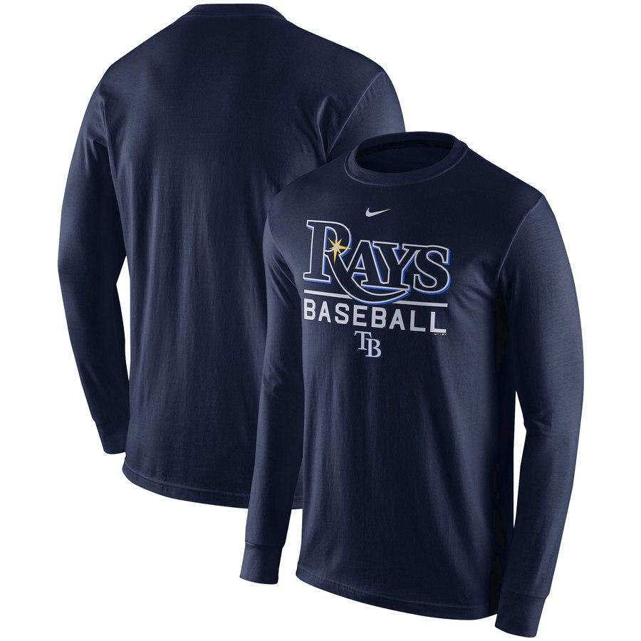 Tampa Bay Rays Nike Practice Long Sleeve T-Shirt Navy