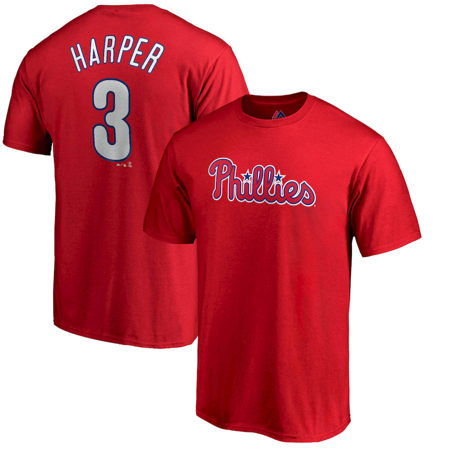 Philadelphia Phillies #3 Bryce Harper Majestic Official Name & Number T-Shirt Red
