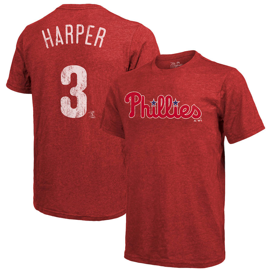 Philadelphia Phillies #3 Bryce Harper Majestic Threads Name & Number Tri-Blend T-Shirt Red