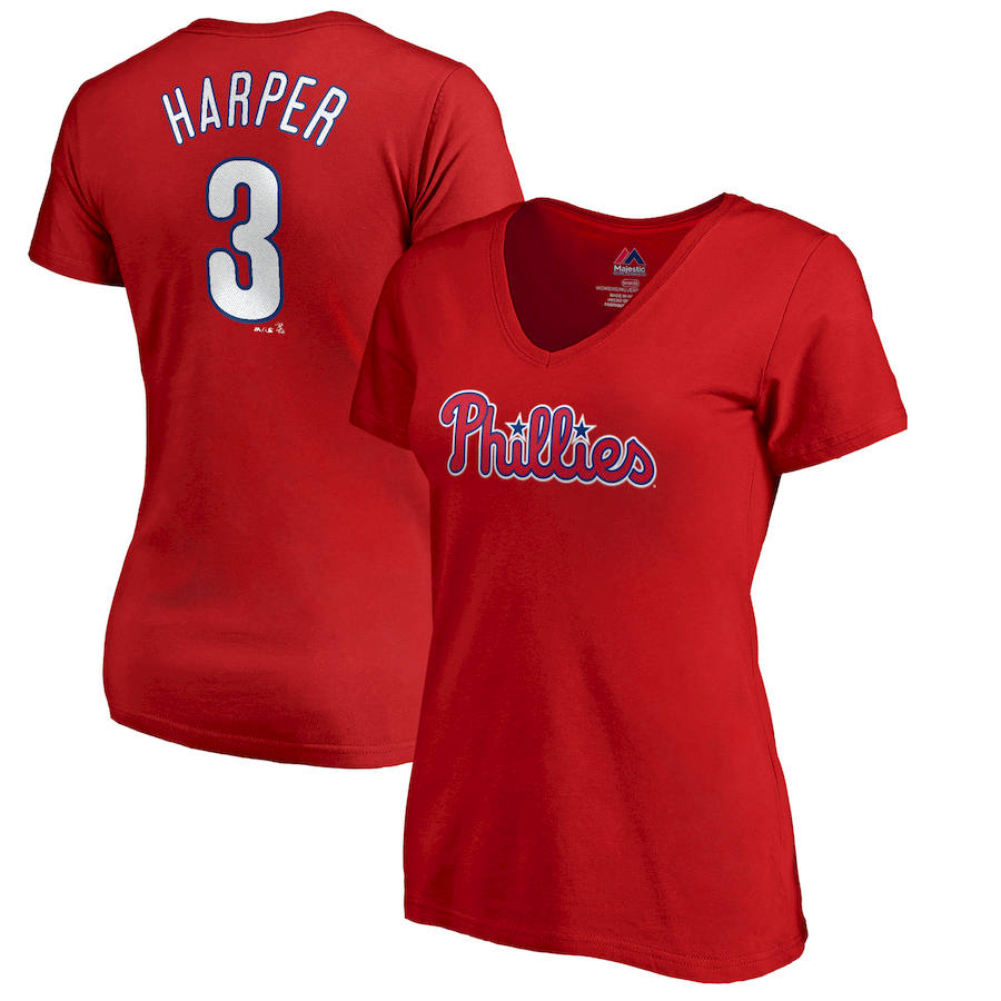 Philadelphia Phillies #3 Bryce Harper Majestic Women's Name & Number V-Neck T-Shirt Red