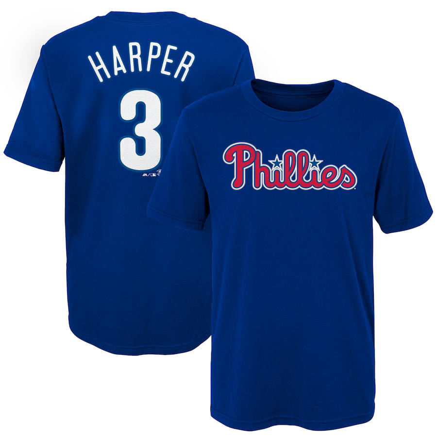 Philadelphia Phillies #3 Bryce Harper Majestic Youth Name & Number T-Shirt Royal