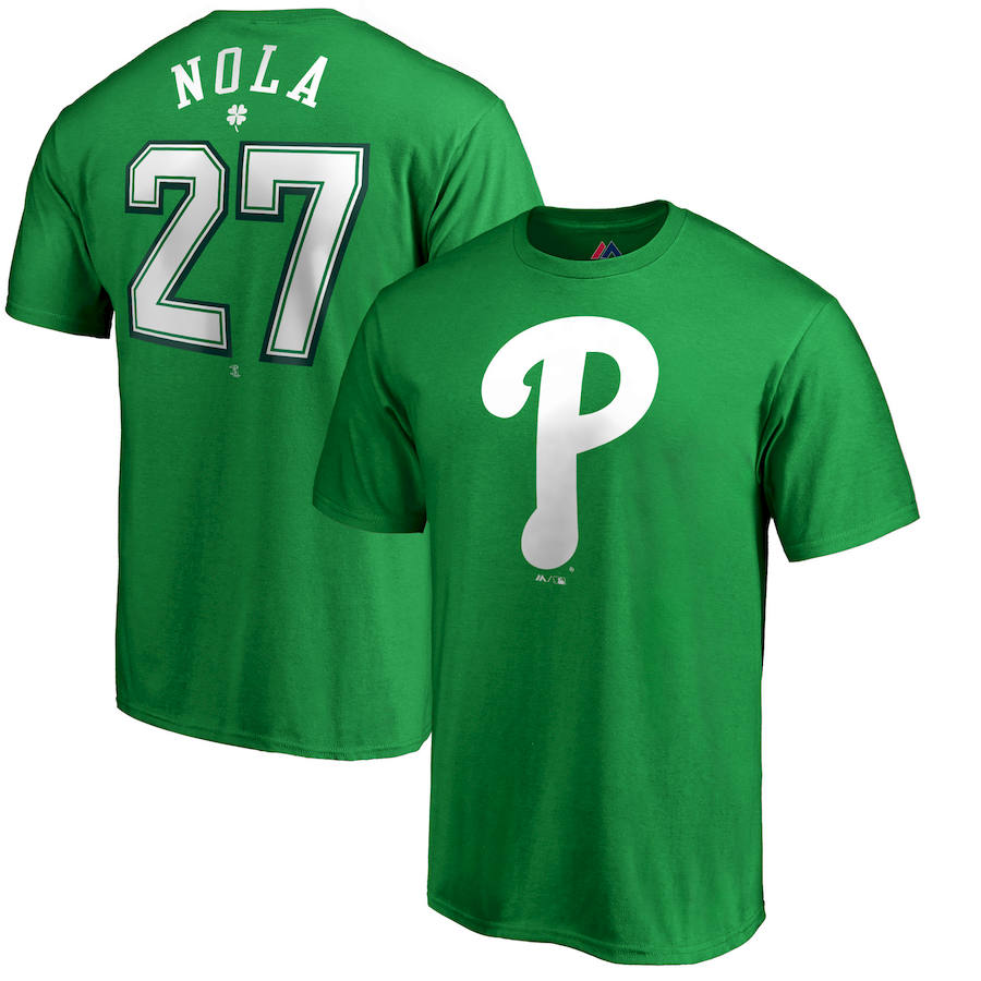 Philadelphia Phillies #27 Aaron Nola Majestic St. Patrick's Day Stack Player Name & Number T-Shirt Kelly Green