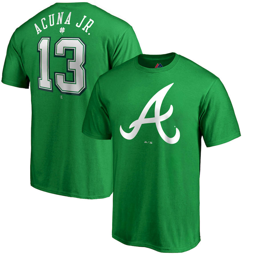 Atlanta Braves #13 Ronald Acuna Jr. Majestic St. Patrick's Day Stack Player Name & Number T-Shirt Kelly Green