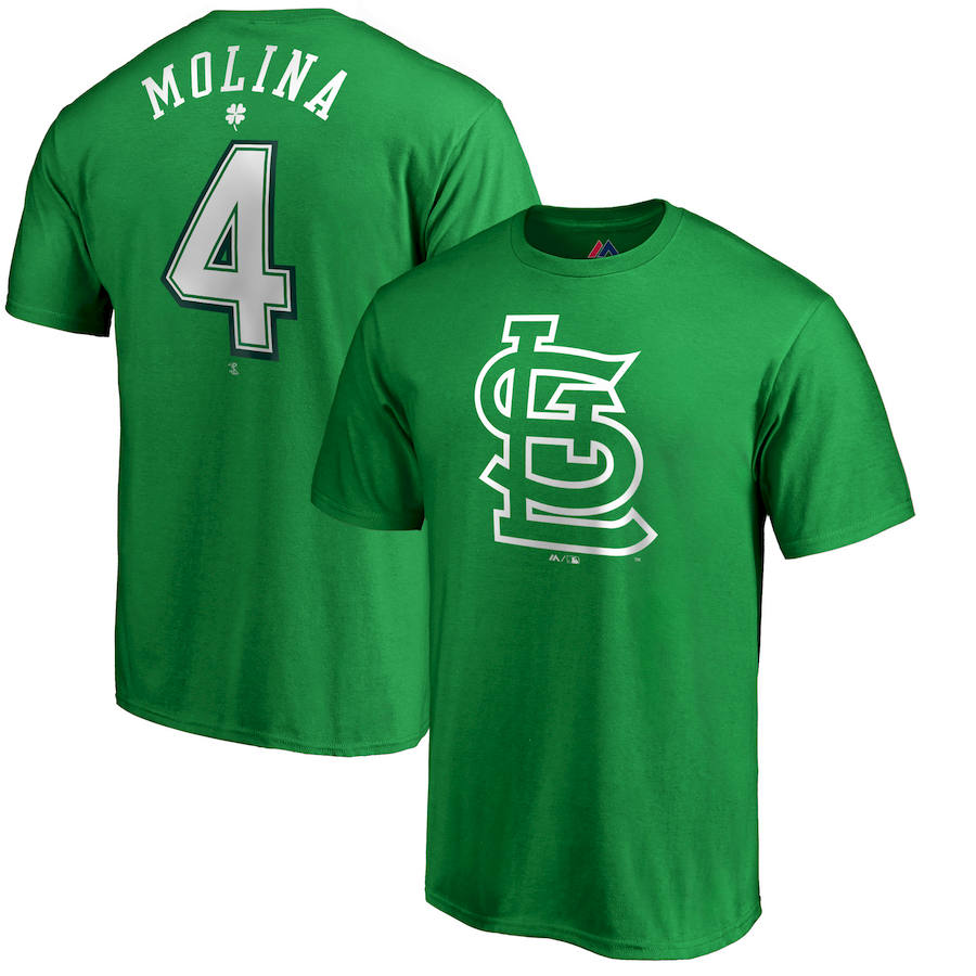 St. Louis Cardinals #4 Yadier Molina Majestic St. Patrick's Day Stack Player Name & Number T-Shirt Kelly Green