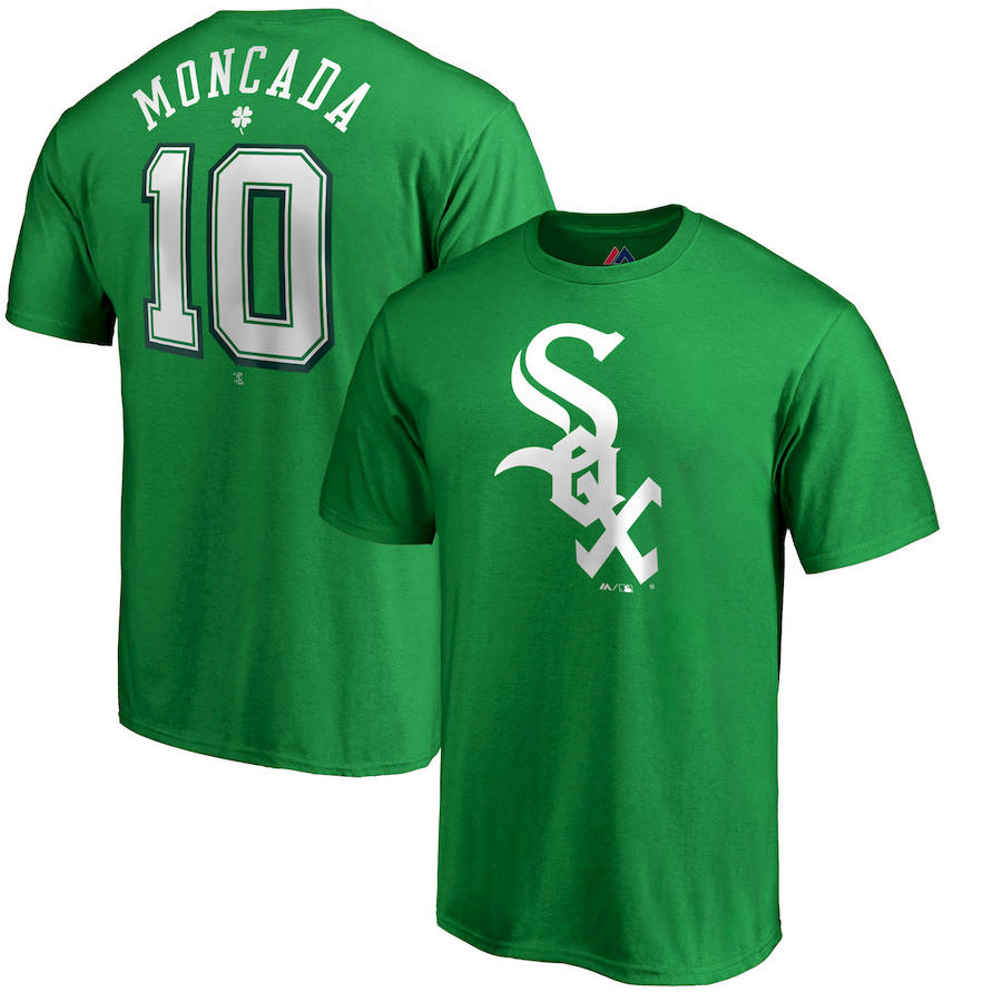 Chicago White Sox #10 Yoan Moncada Majestic St. Patrick's Day Stack Player Name & Number T-Shirt Kelly Green