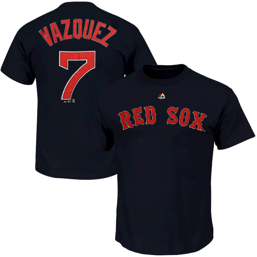 Boston Red Sox #7 Christian Vazquez Majestic Official Name and Number T-Shirt Navy