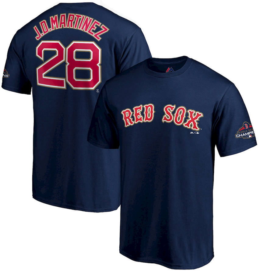 Boston Red Sox #28 J.D. Martinez Majestic 2019 Gold Program Name & Number T-Shirt Navy