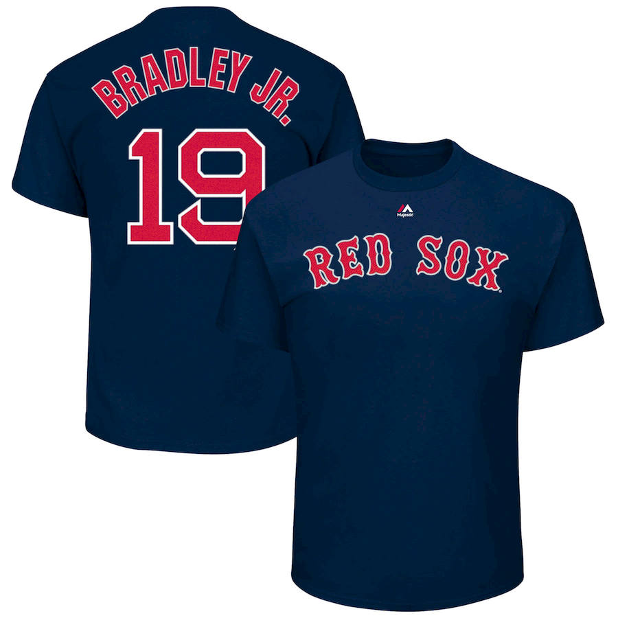Boston Red Sox #19 Jackie Bradley Jr. Majestic Official Name and Number T-Shirt Navy