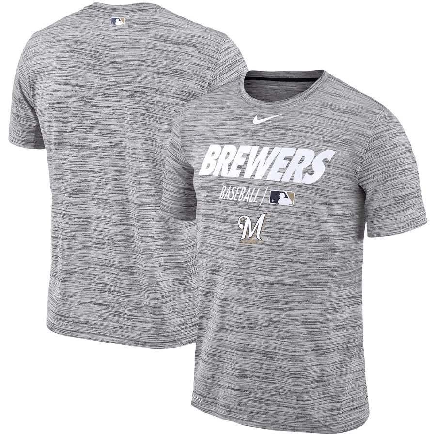 Milwaukee Brewers Nike Authentic Collection Velocity Team Issue Performance T-Shirt Gray