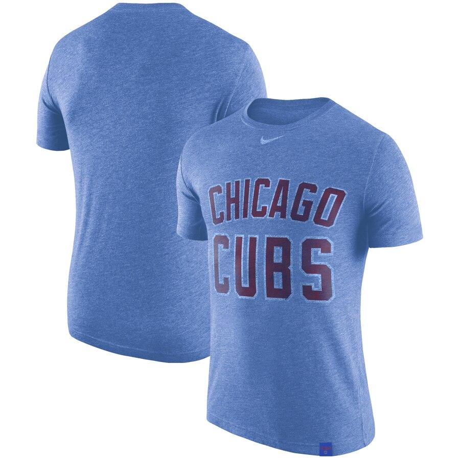 Chicago Cubs Nike Tri-Blend DNA Wordmark Performance T-Shirt Heathered Royal