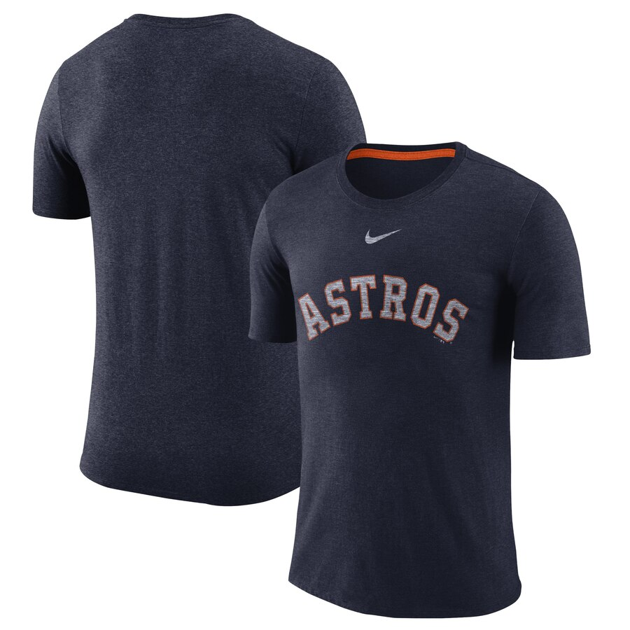 Houston Astros Nike Wordmark Tri-Blend T-Shirt Navy