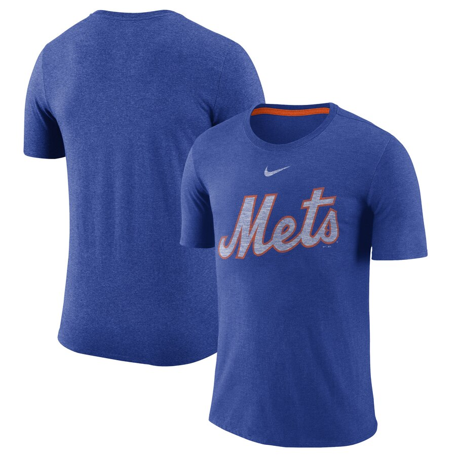 New York Mets Nike Wordmark Tri-Blend T-Shirt Royal