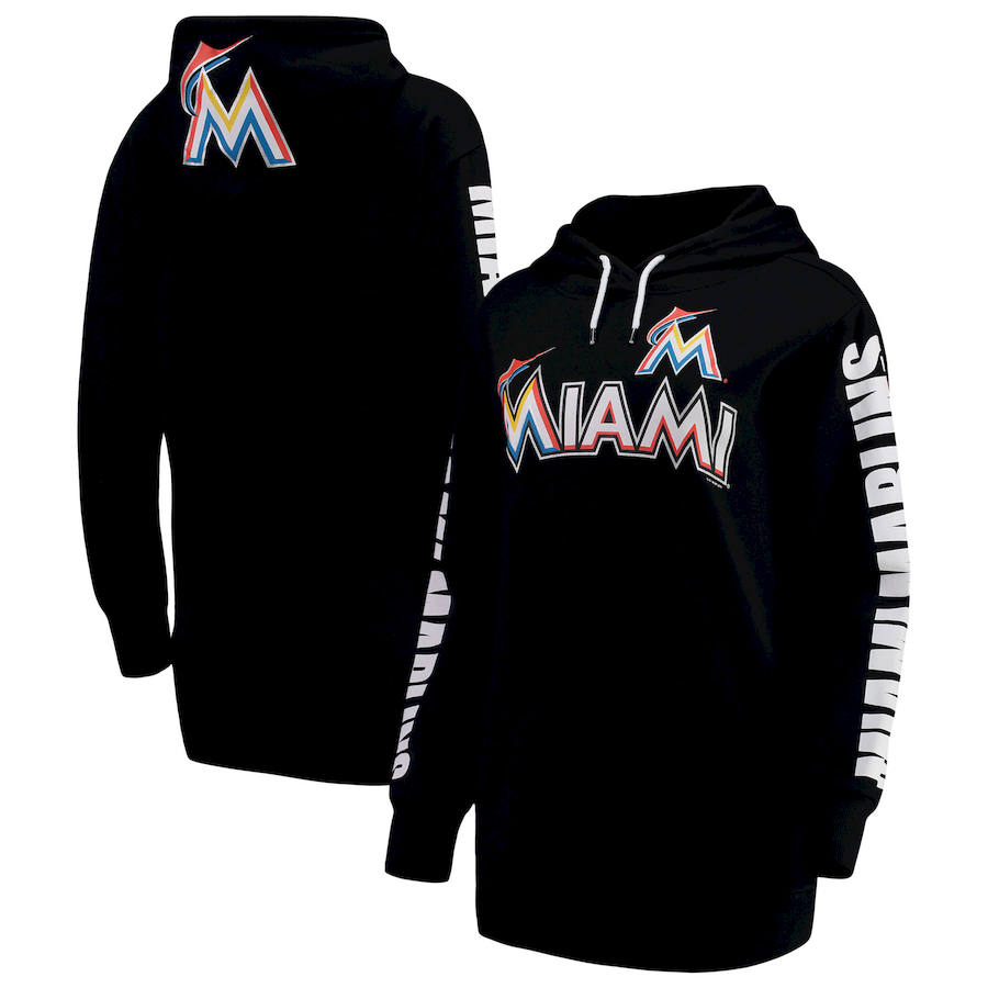 Miami Marlins G-III 4Her by Carl Banks Women's Extra Innings Pullover Hoodie Black