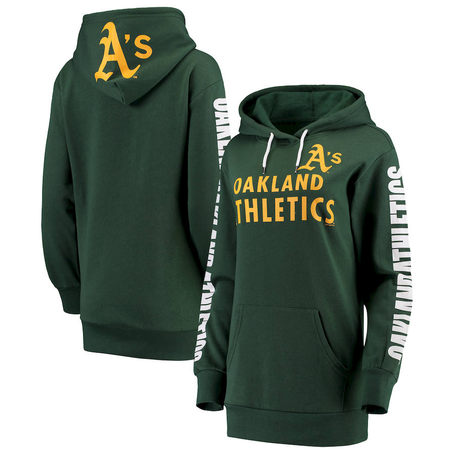 Oakland Athletics G-III 4Her by Carl Banks Women's Extra Innings Pullover Hoodie Green