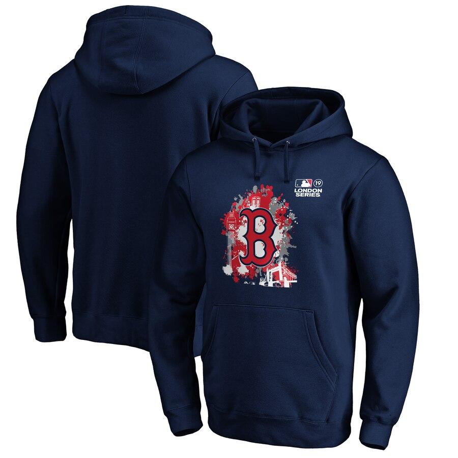 Boston Red Sox Majestic 2019 London Series Splatter Pullover Hoodie Navy