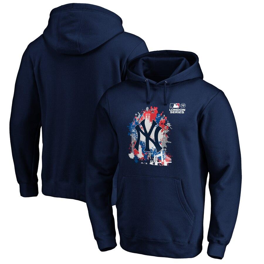 New York Yankees Majestic 2019 London Series Splatter Pullover Hoodie Navy