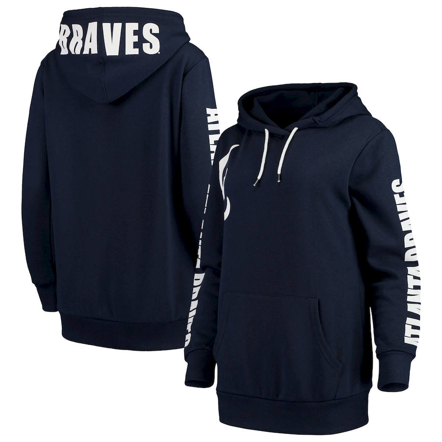 Atlanta Braves G-III 4Her by Carl Banks Women's 12th Inning Pullover Hoodie Navy
