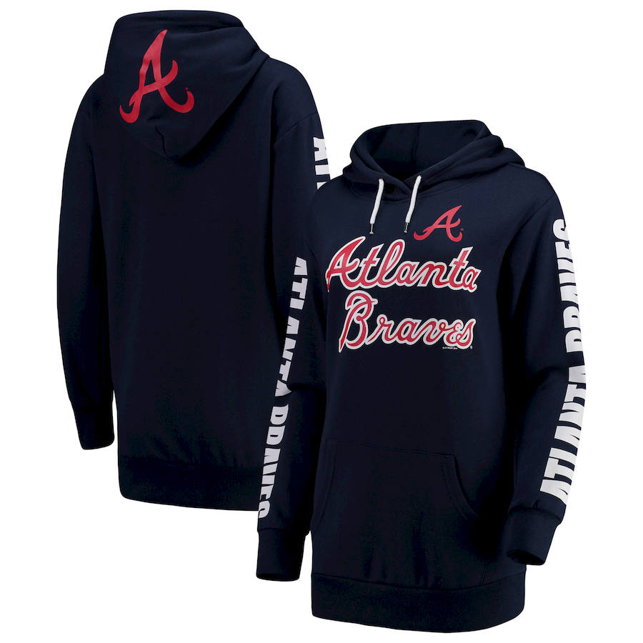 Atlanta Braves G-III 4Her by Carl Banks Women's Extra Innings Pullover Hoodie Navy
