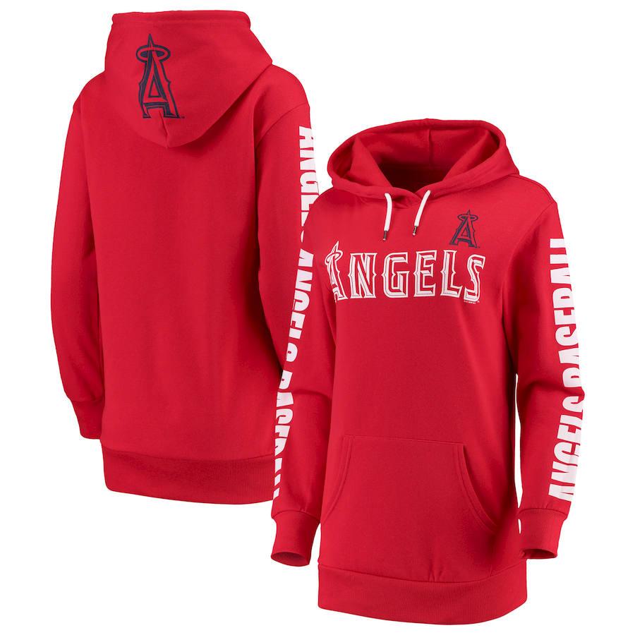 Los Angeles Angels G-III 4Her by Carl Banks Women's Extra Innings Pullover Hoodie Red