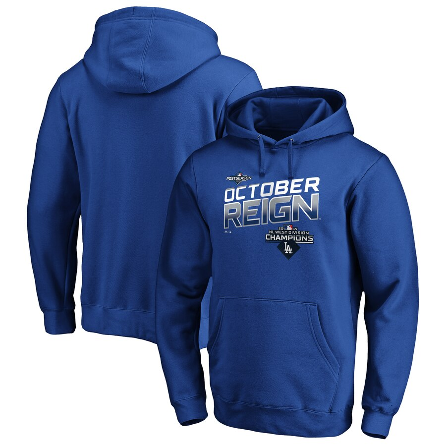 Los Angeles Dodgers Majestic 2019 NL West Division Champions Locker Room Pullover Hoodie Royal