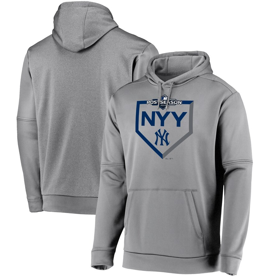 New York Yankees Majestic 2019 Postseason Dugout Authentic Pullover Hoodie Gray