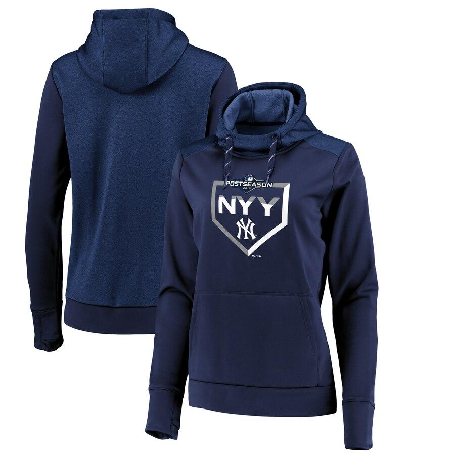 New York Yankees Majestic Women's 2019 Postseason Dugout Authentic Pullover Hoodie Navy
