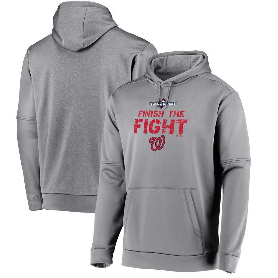 Washington Nationals Majestic 2019 World Series Bound Collection Dugout Pullover Hoodie Gray