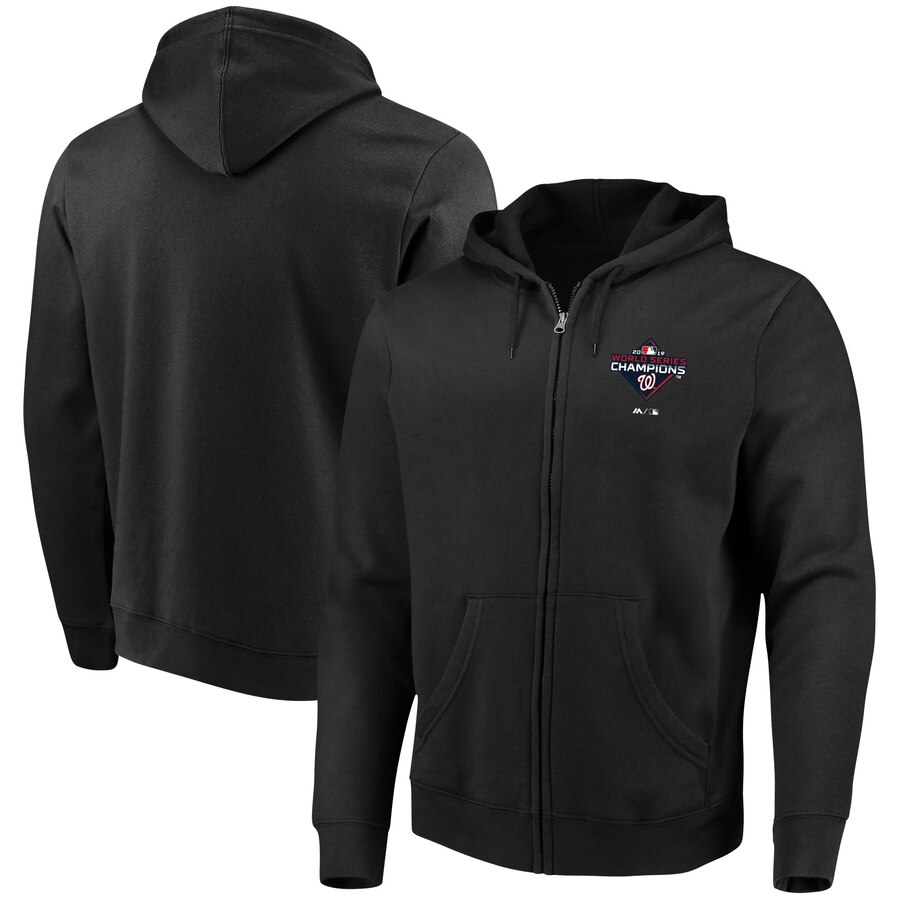 Washington Nationals Majestic 2019 World Series Champions Cutter Full-Zip Hoodie Black