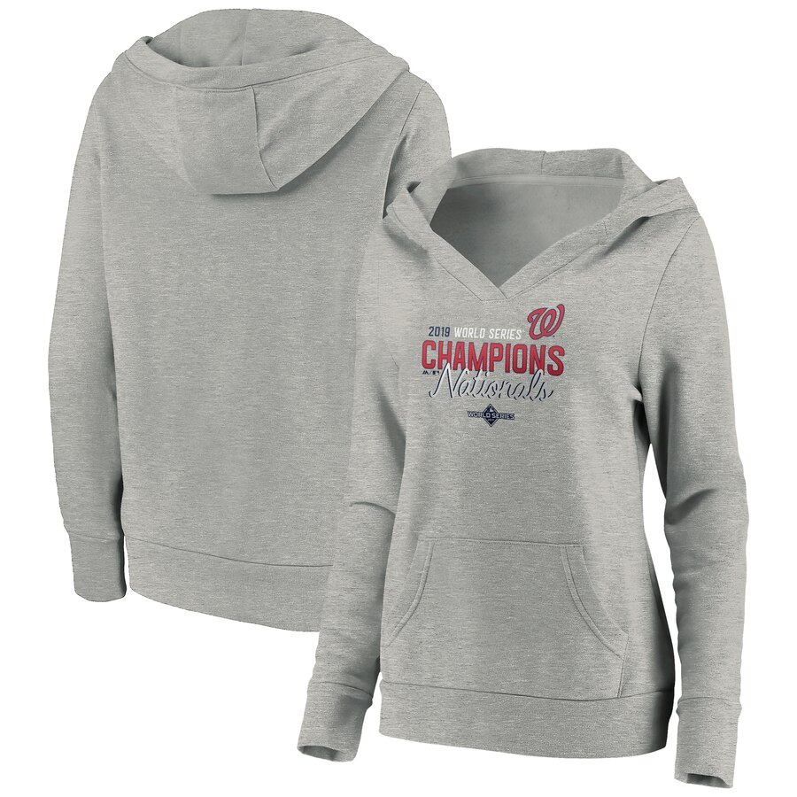 Washington Nationals Majestic Women's 2019 World Series Champions Deuces Pullover Hoodie Gray