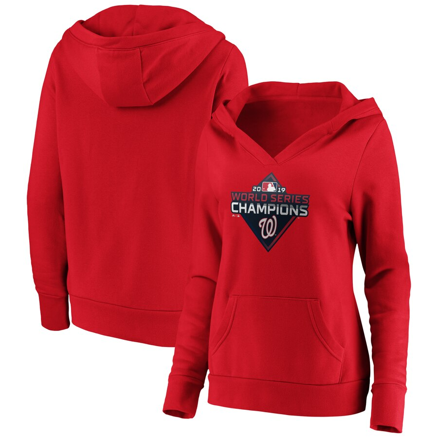 Washington Nationals Majestic Women's 2019 World Series Champions Logo V-Neck Pullover Hoodie Red