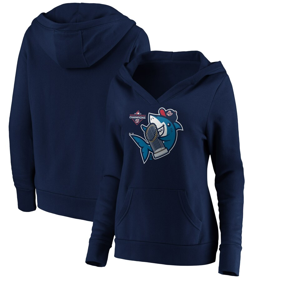 Washington Nationals Majestic Women's 2019 World Series Champions Trophy Shark V-Neck Pullover Hoodie Navy
