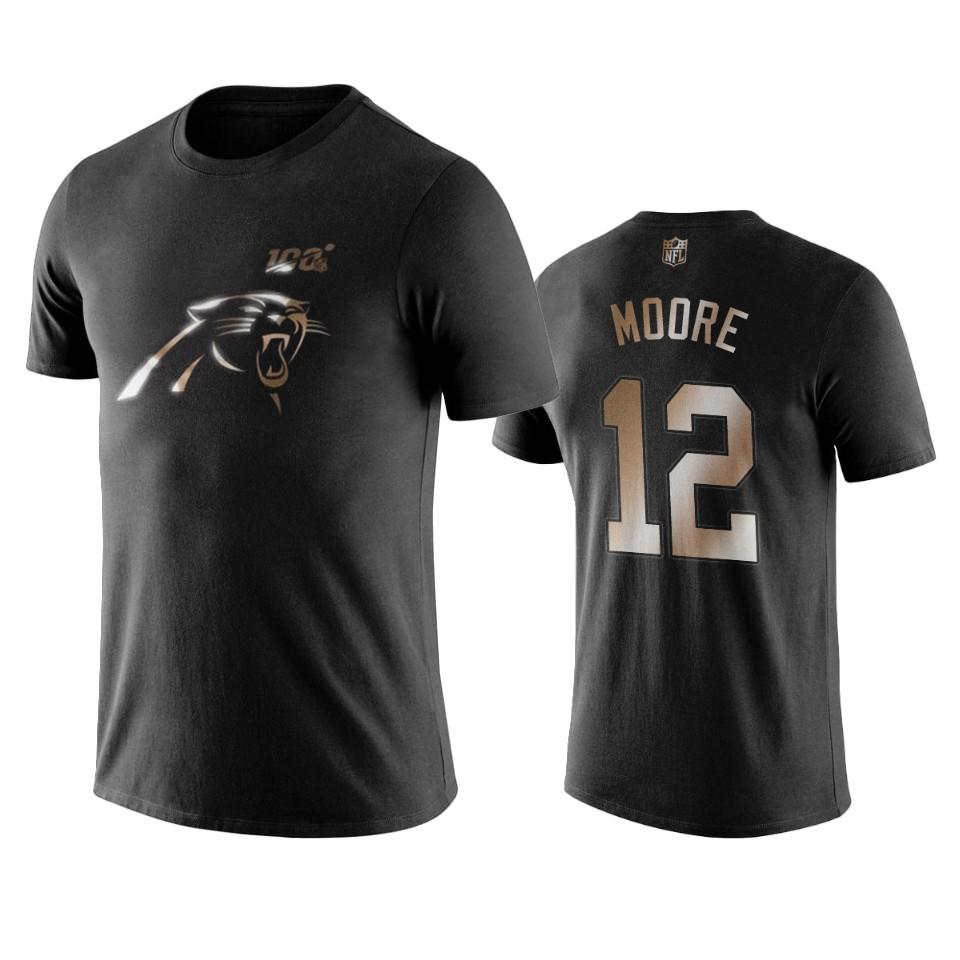 Panthers #12 D.J. Moore Black NFL Black Golden 100th Season T-Shirts