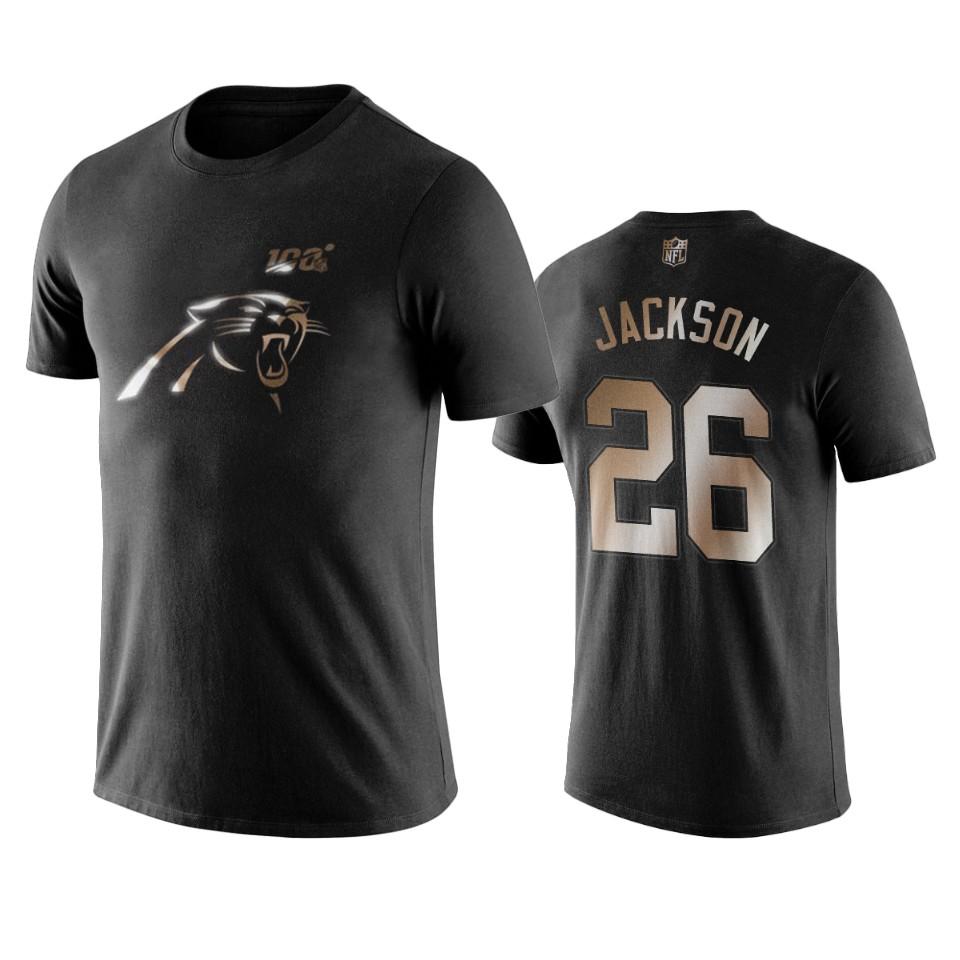 Panthers #26 Donte Jackson Black NFL Black Golden 100th Season T-Shirts
