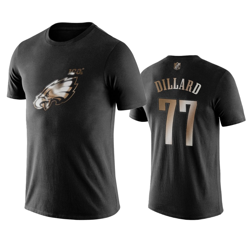 Eagles #77 Andre Dillard Black NFL Black Golden 100th Season T-Shirts